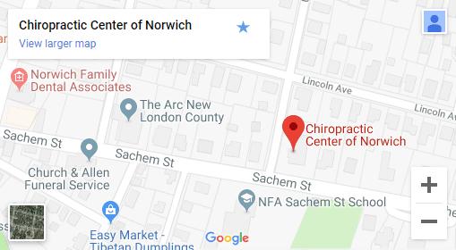 Map of Norwich CT Chiropractors